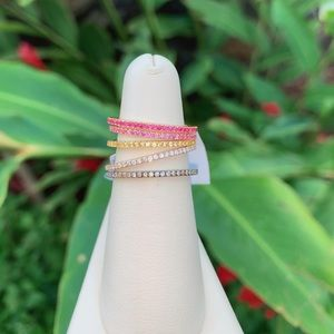 Colored sapphire and diamond stacking rings!